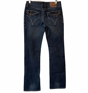 """Cowgirl Up Don't Fence Me in Stretch Denim  Jeans Womens Size 0 / 26 32"""" long"""