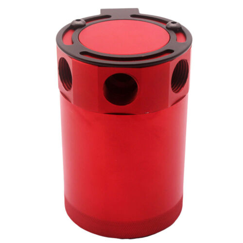 Red UniversalRacing Baffled 3-Port Oil Catch Can Tank Air-Oil Separator