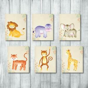 Details About Safari Nursery Decor Jungle Baby Animals 6 Prints For Art