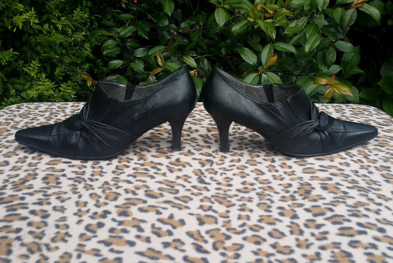 Gabor en cuir noir à talon haut chaussures Taille UK 6 EU 39