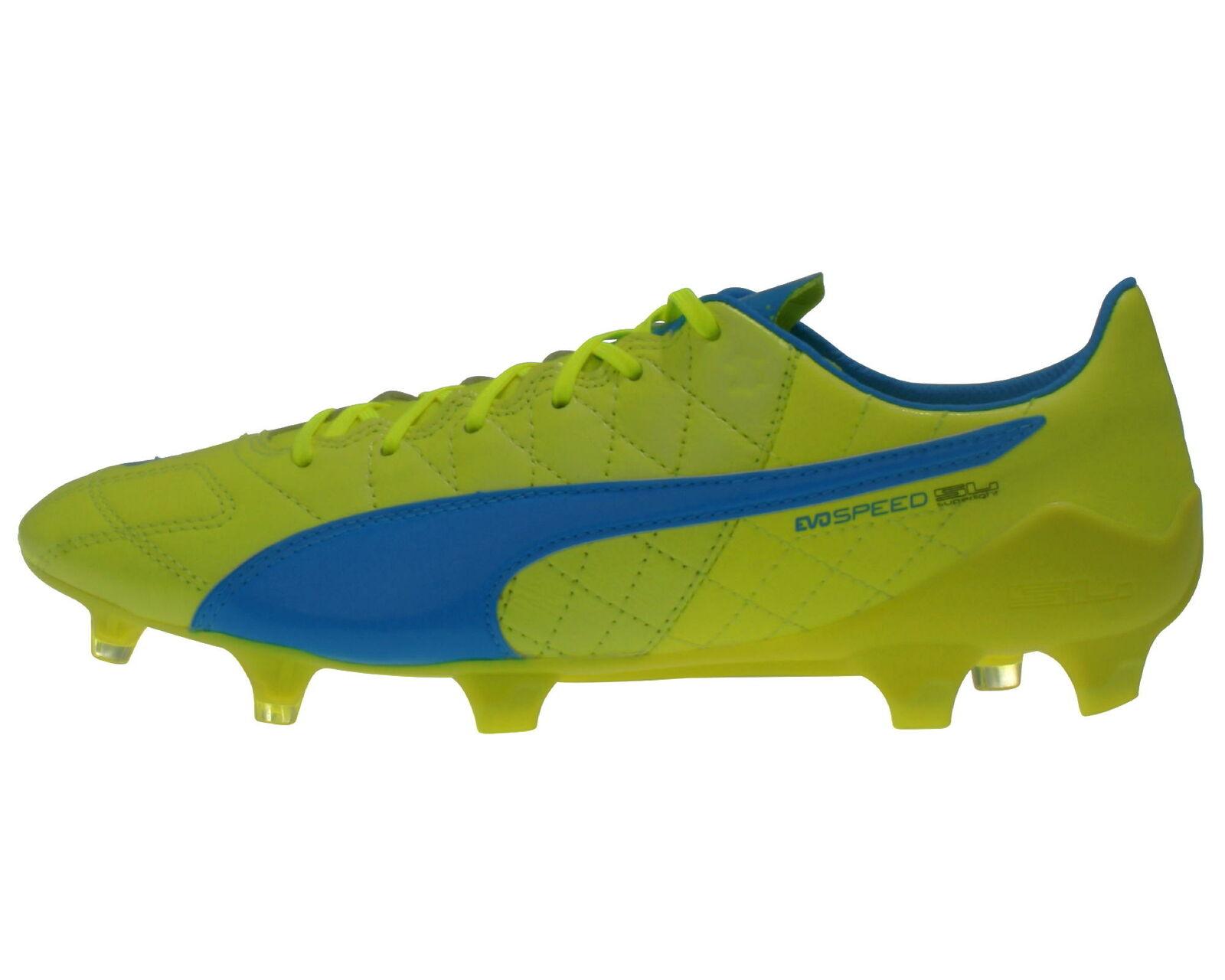 Puma Herren Fußball-Schuhe evoSpeed SL Leder FG gelb leichter Rasen-Schuh 40,5