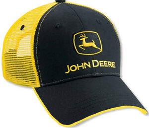 JOHN DEERE *BLACK & YELLOW* Twill Mesh Snapback CAP HAT *BRAND NEW*