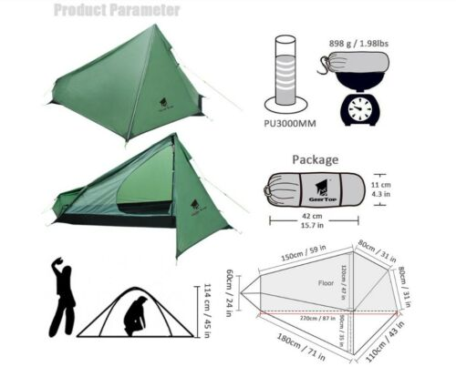 Light Single One Man 1 Person Waterproof Hiking Tent Survival Camping Shelter