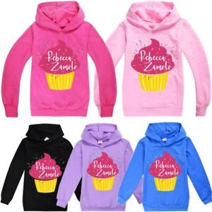 Rebecca Zamolo YouTuber Kids Hoodie Pink Cupcake Hooded Sweatshirt Girls Boys