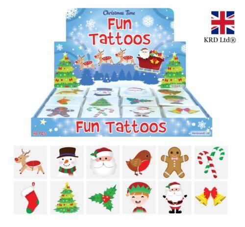 12 x CHRISTMAS TEMPORARY TATTOOS Santa Elf Reindeer Stocking Party Bag Filler UK