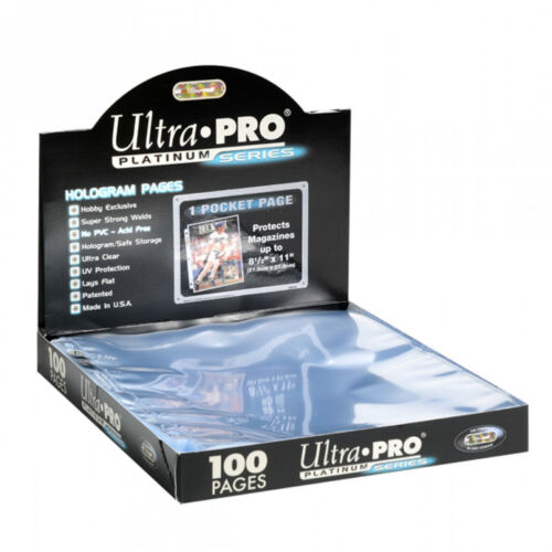 100 ULTRA PRO PLATINUM 1-POCKET Pages 8 1//2 x 11 Sheets Brand New in Box