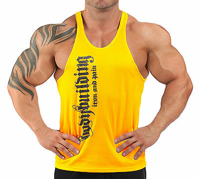IRON & PAIN T-BACK BODYBUILDING VEST WORKOUT GYM CLOTHING - YELLOW H-71