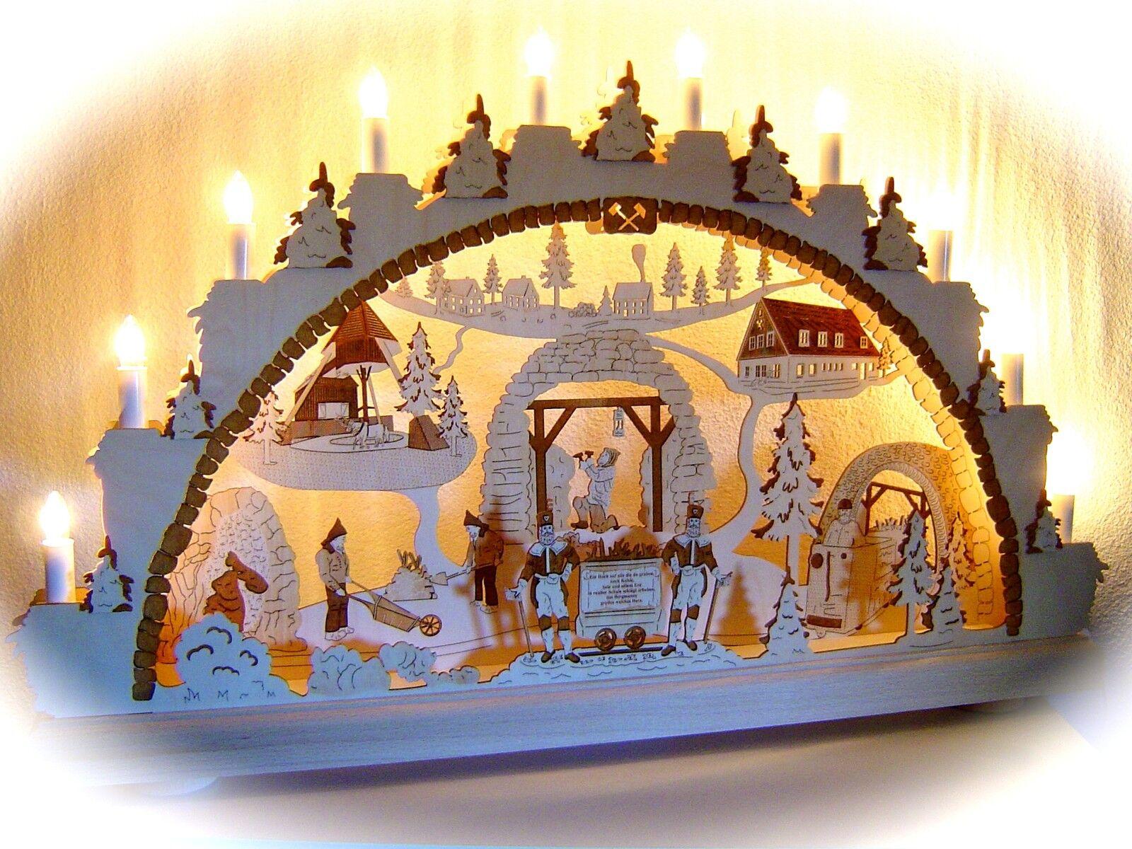 Arc à lumière à bougies 3D Bergmann COULEUR avec de nombreux détails 66 X43