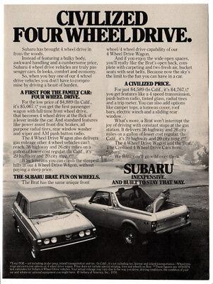SKI TEAM 1982 SUBARU 4-WHEEL DRIVE WAGON Original Vintage Ad ~ U.S