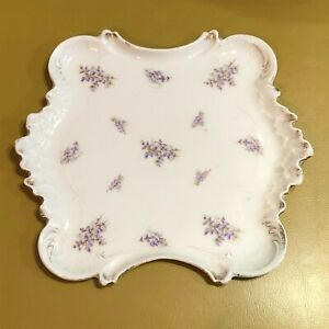 Vintage-Porcelain-Vanity-Tray-Germany-Violets-Flowers-White-square-numbered