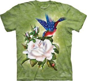 Patriotic-Hummingbird-on-Shirt-Mountain-Brand-In-Stock-Small-5X-Lt-Green
