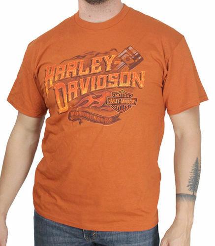 Harley Davidson T Shirt in Orange Modell HD Piston     | Günstige
