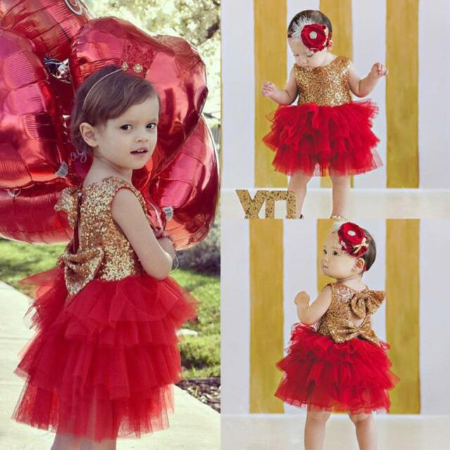 Kids Sequins Baby Girl Dress Bow Backless Party Gown Bridesmaid ...