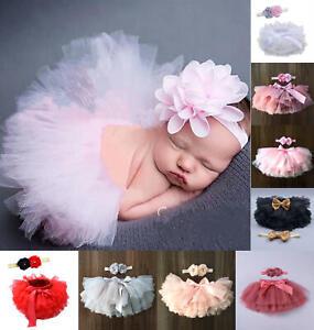 Newborn Baby Kid Girl Flower Headband Tutu Skirt Photography Costume Prop Dress