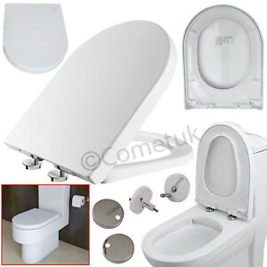 Soft Close Toilet Seat Luxury White D Shape Heavy Duty | With TOP FIXING Hinges