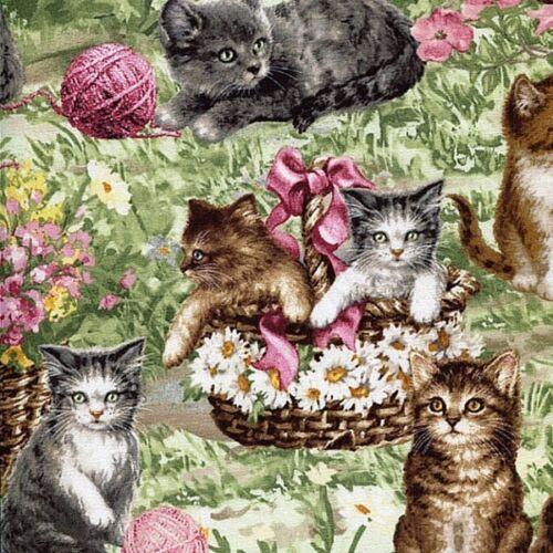 Mignon Jardin Chats jouant autour dans des paniers 100% Coton Patchwork Tissu