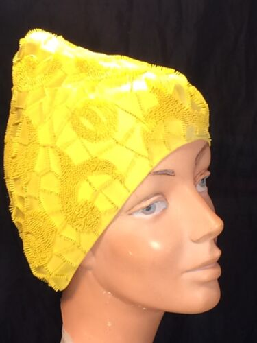 vintage Playtex yellow Pixie swim Cap 60s water pr