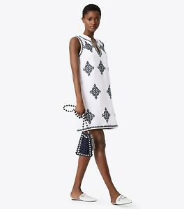 a24519cdb5 Tory Burch Celeste Dress Swim Cover Up Embroidered White Navy Summer ...