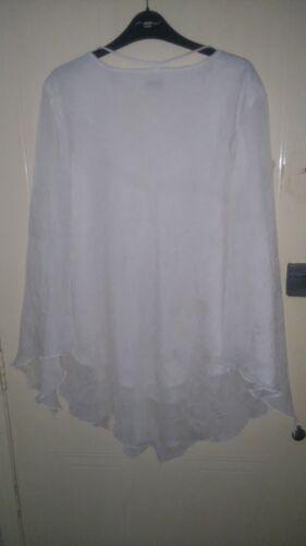 Neck Womens Sleeves White 51inch 24 smock V Inspire Size Blouse Chest ppHwPFq
