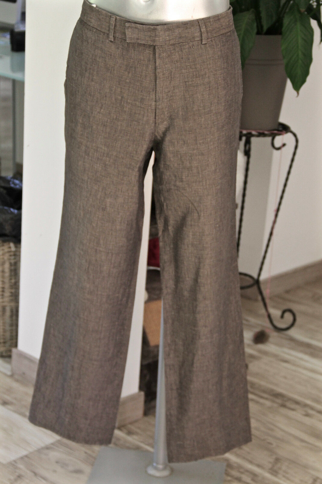 Trousers Suit Linen Grey Hugo Boss Size 44-46 Fr ( Grams 52) Mint