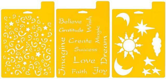 "Delta Stencil Sheets 7 x 10/"" 3 pieces Imagine Theme Celestial Love Faith"