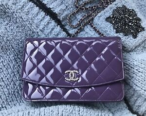 5f9e0a60a2d691 Image is loading CHANEL-Brilliant-Violet-Patent-Leather-Wallet-on-Chain-