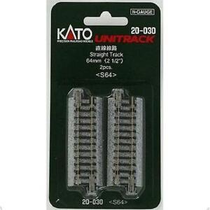 Kato-20-030-Rail-Droit-Straight-Track-64mm-2pcs-N