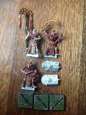 Warhammer. Tomb Kings. Tomb Guard Command. campeón, estándar, músico. Metal.