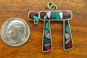Vintage-silver-TURQUOISE-CHAI-HEBREW-JEWISH-JUDAIC-ISREAL-PENDANT-charm
