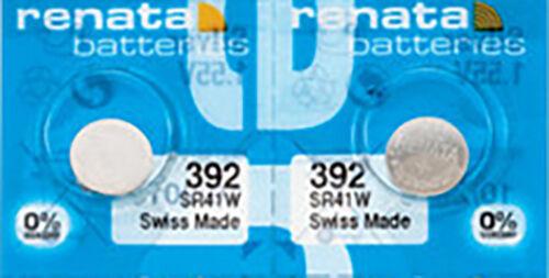 2 x Renata 392 Watch Batteries, 0% MERCURY equivalent SR41W, Swiss Made