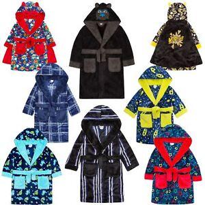 Boys//Kids Soft Plush Fleece Dressing Gowns//Bathrobes Snuggle Cosy Warm Gift 2-13