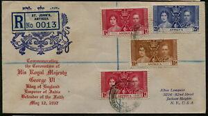 Antigua - 1937 Coronation Set  on REGISTERED FDC  - SG 95/97 [C0639]