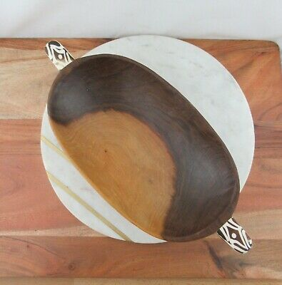 Vintage Hand Carved Oval Wooden African Display Bowl With Bone Handles Kenya Ebay
