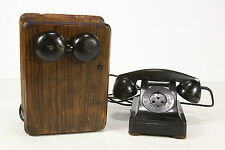 Vtg Telephone Lot Bakelite & Wood Northern & Western Electric Magneto Crank Box
