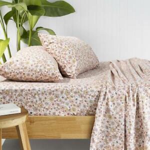 Bambury Marguerite Flannelette Sheet Set - Rosewater