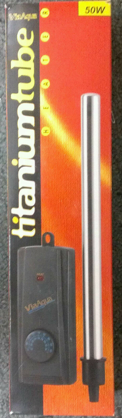 VIAAQUA TITANIUM TUBE AQUARIUM HEATER 50 WATT  SUBMERSIBLE