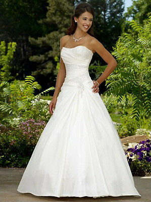 New A-Line White/ivory Taffeta Wedding Dress Bridal Gown Size:6 8 10 12 14 16 18