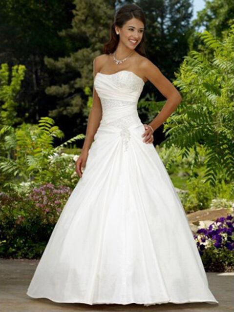 New A-Line White/ivory Taffeta Wedding Dress Bridal Gown Size:6 8 10 12 14 16 18