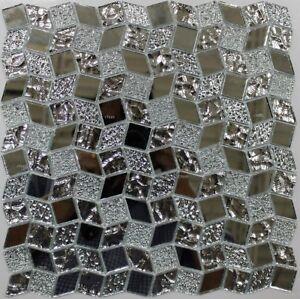 Image Is Loading Mirage Silver Mirror Mosaic Gl Tile Backsplash Wall