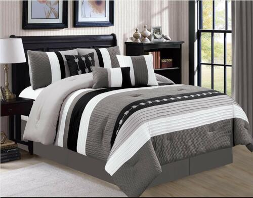 DCP 7 Pieces Luxury Bedding Comforter Sets Bed in Bag Stripe Queen,King,Cal King