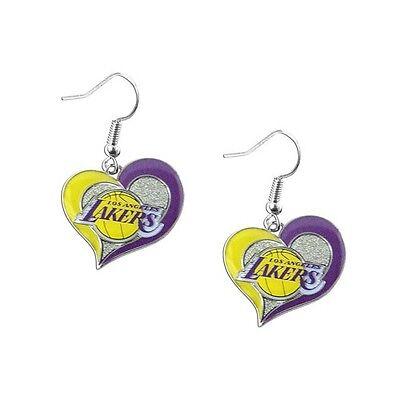 Los Angeles Lakers NBA Swirl Heart Earrings