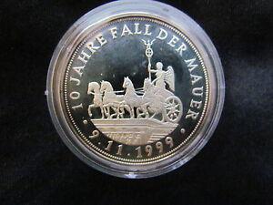 Deutsche Einheit 10 Jahre Fall Der Mauer Silber 999 Pp Medaille Ebay