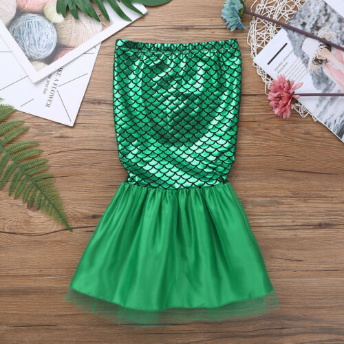 Girls Kids Walkable Mermaid Tail Skirt Party Costume Shiny Sea-maid Swimwear