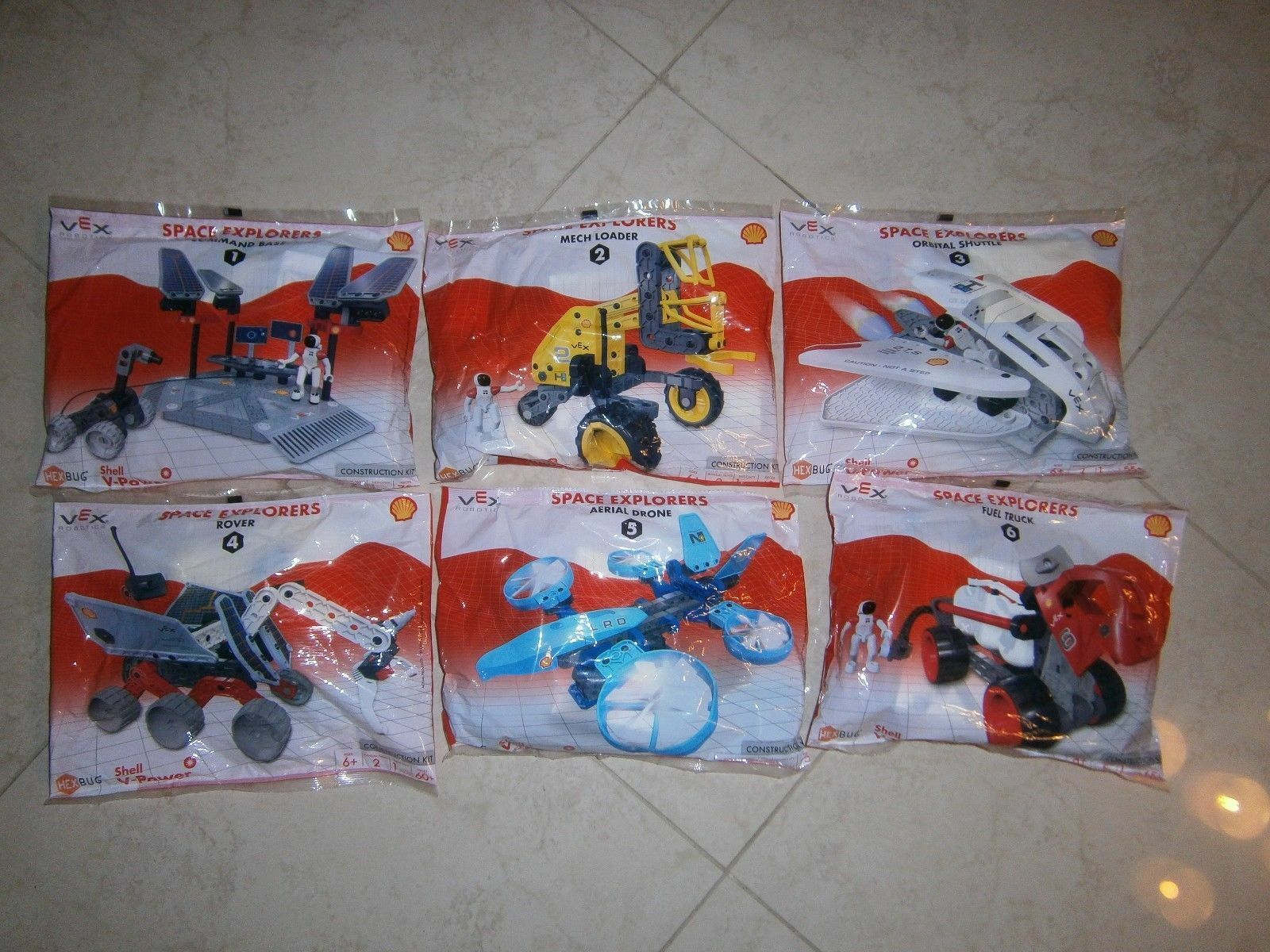Shell Vex Robotics Space Explorers Complete Set 6 Toy Collection Constuction Kit
