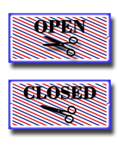 rasage et coupures Ouvrir et Fermer Barber Shop Coiffeurs métal signe decor