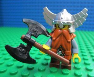 Lego-Castle-Dwarf-Ginger-Beared-Minifigure-Minifigs-Dwarves-Axe-Silver-Helmet