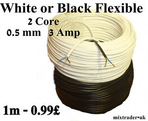 2192Y Mains Power Electric Cable 2 Core 0.5mm 3 Amp White Black Flat Flexible