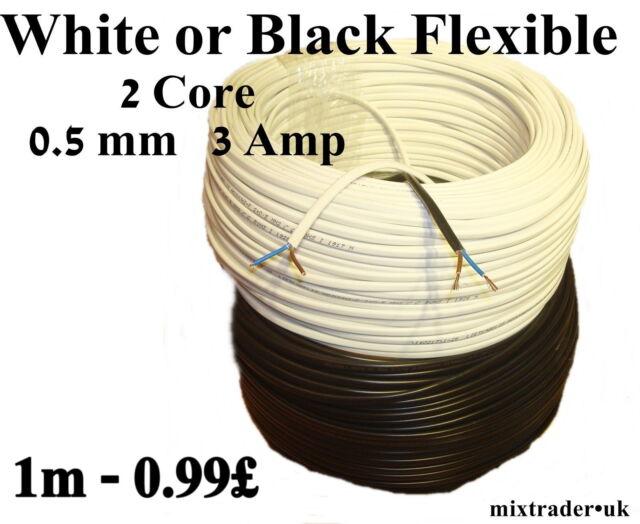 6 Amp 0.75mm Cable Flexible 3 core 3183Y Black White 1M 5M 10M 15M 20M 25M 30M