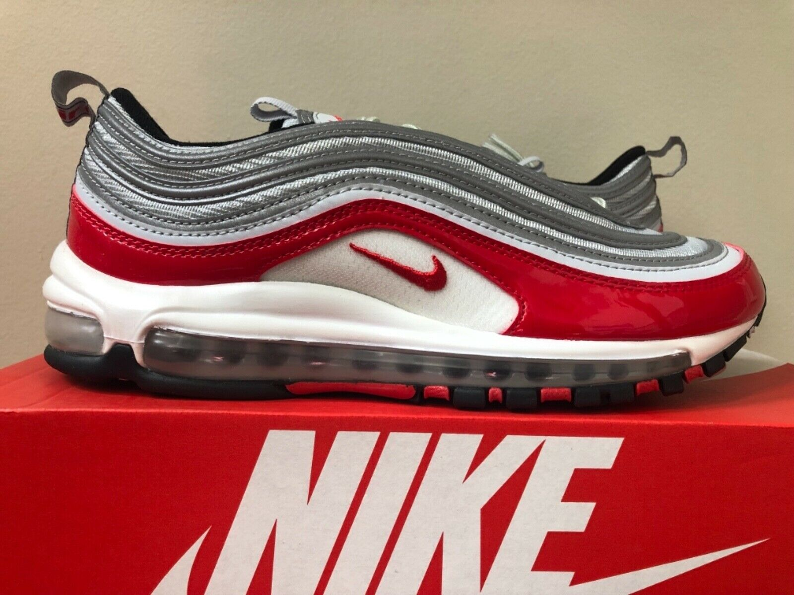 Nike Air Air Air Max 97 OG University Red Pure Platinum 921826-009 8-13 100% Authentic bcebf1