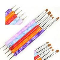 5PCS 2 Way Dotting Manicure Tools Painting Pen Brush Nail Art Paint HU